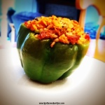 Bell Pepper Stuffed with Jambalaya recipe from RedBeansAndEric.com!